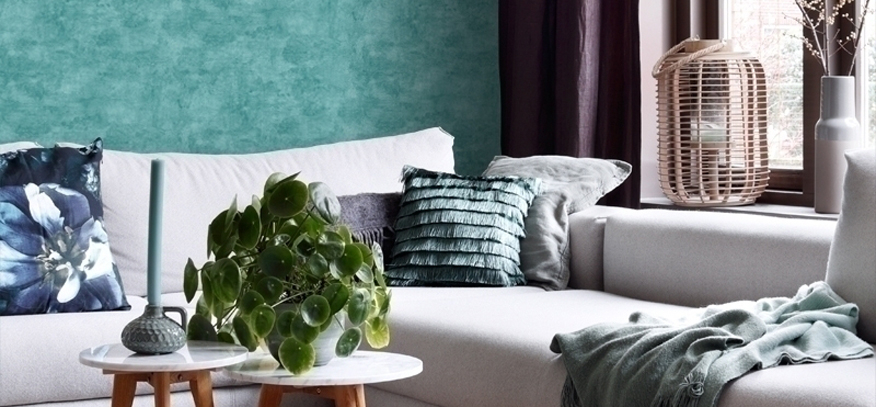 turquoise behang