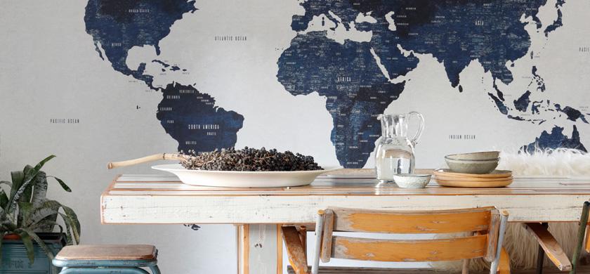 wereldkaart behang