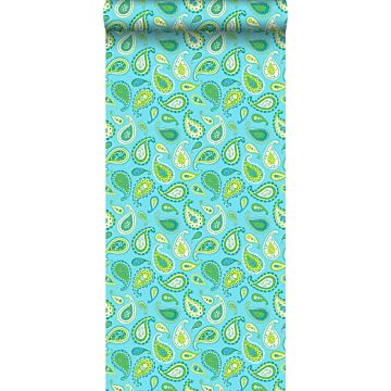 behang paisley turquoise en limegroen van ESTA home
