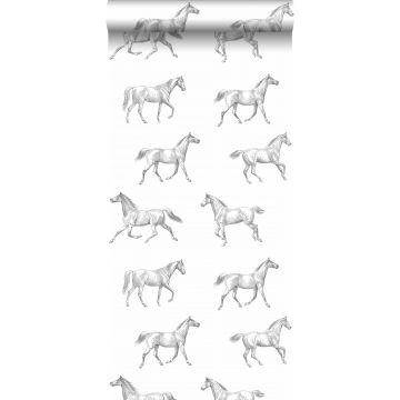 behang getekende paarden zwart op wit van ESTA home