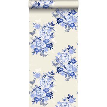 behang bloemen en vogels delfts blauw van ESTA home