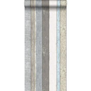 behang houten plankjes grijs en lichtblauw van ESTA home