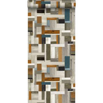 behang sloophout grijs, bruin en vergrijsd oud blauw van ESTA home