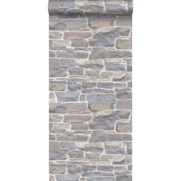 behang stenen muur lichtgrijs en beige van ESTA home