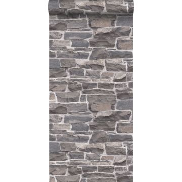 behang stenen muur blauw en grijs van ESTA home
