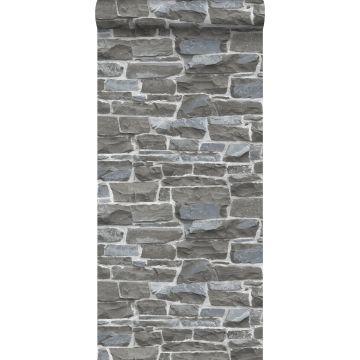 behang stenen muur donkergrijs van ESTA home