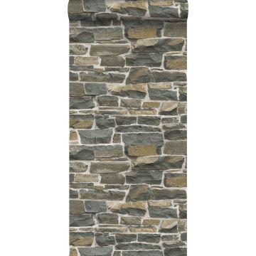 behang stenen muur bruin van ESTA home