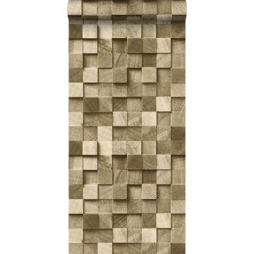 behang 3D-houtmotief donker beige van ESTA home