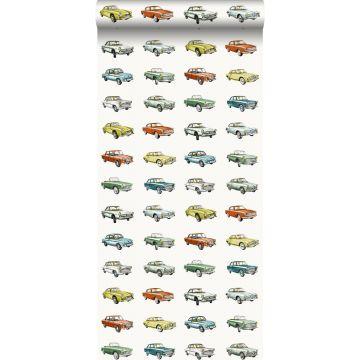 behang vintage auto's oranje, okergeel en groen van ESTA home