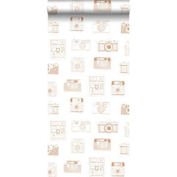 behang polaroid camera's glanzend koper bruin van ESTA home
