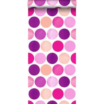 behang grote stippen fuchsia roze van ESTA home