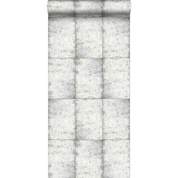 behang zinken platen licht warm grijs van ESTA home