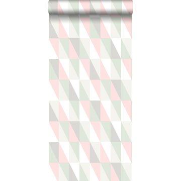 behang grafische driehoeken licht roze en mintgroen van ESTA home