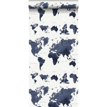 behang vintage wereldkaarten donkerblauw van ESTA home