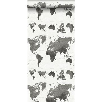 behang vintage wereldkaarten donkergrijs van ESTA home