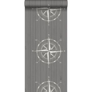 behang kompasroos op sloophout wit en grijs van ESTA home