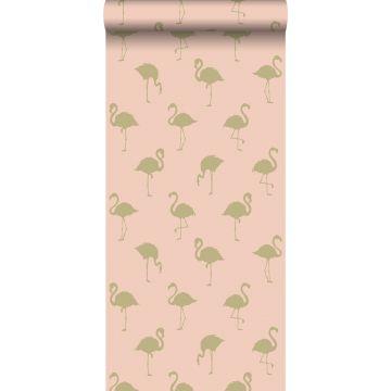 behang flamingo's goud en perzik roze van ESTA home