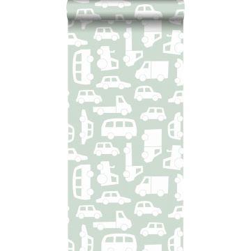 behang auto's mintgroen van ESTA home