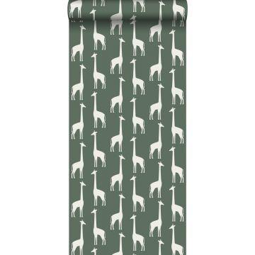 behang giraffen donkergroen van ESTA home