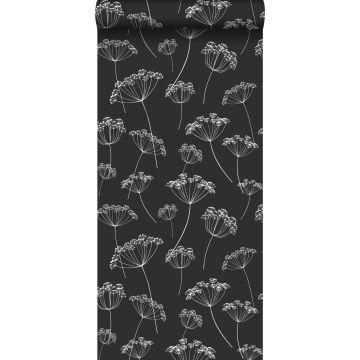 behang schermbloemen zwart wit van ESTA home