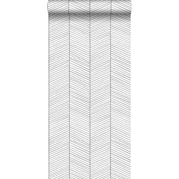 behang visgraat-motief zwart wit van ESTA home