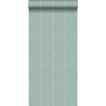 behang visgraat-motief vergrijsd mintgroen van ESTA home