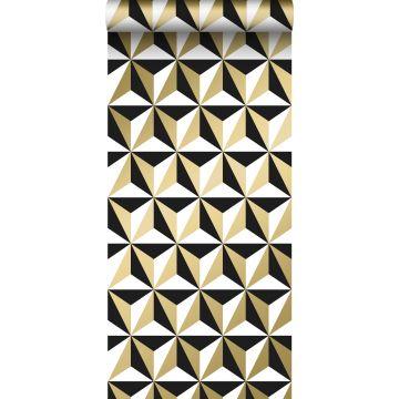 behang grafisch motief glanzend goud, wit en zwart van ESTA home