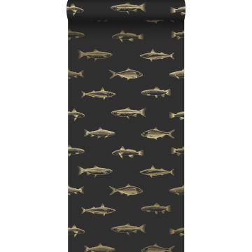 behang pentekening vissen zwart en goud van ESTA home