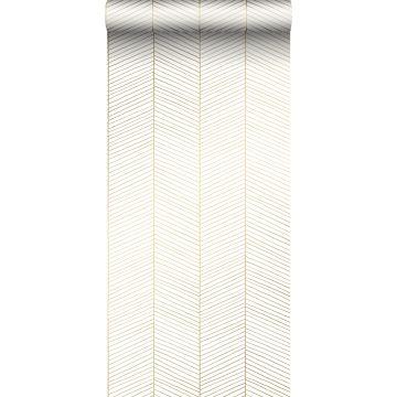 behang visgraat-motief wit en goud van ESTA home
