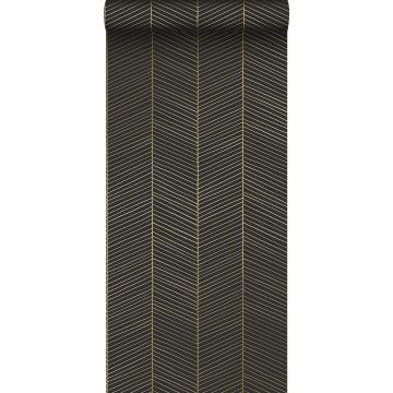 behang visgraat-motief zwart en goud van ESTA home