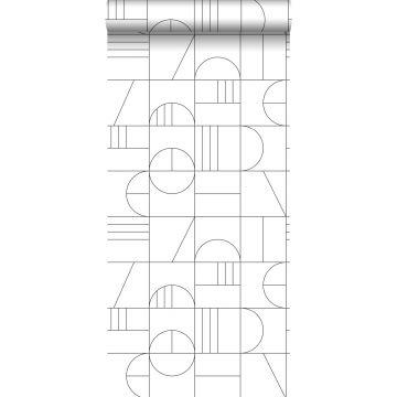 behang art deco motief wit en zwart van ESTA home