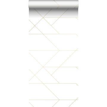 behang grafische lijnen wit en goud van ESTA home