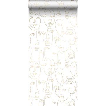 behang gezichten wit en glanzend goud van ESTA home