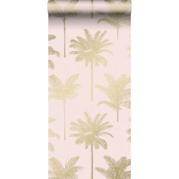 behang palmbomen zacht roze en goud van ESTA home