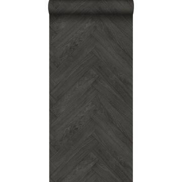 behang hout motief donkergrijs van ESTA home