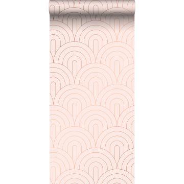 behang art deco motief zacht roze en roségoud van ESTA home