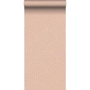 behang art deco motief perzik roze van ESTA home