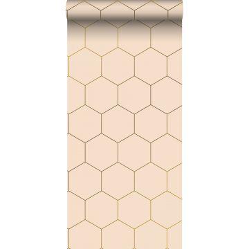 behang hexagon-motief licht perzikroze van ESTA home