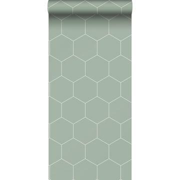 behang hexagon-motief vergrijsd groen en wit van ESTA home