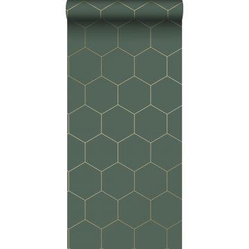 behang hexagon-motief donkergroen en goud van ESTA home