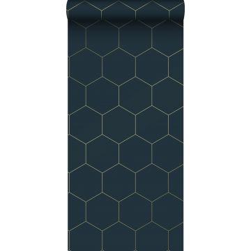 ESTAhome behang hexagon-motief donkerblauw en goud