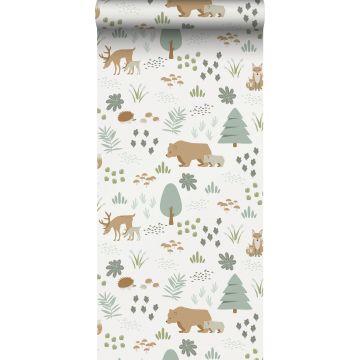 ESTAhome behang bos met bosdieren wit, groen en beige