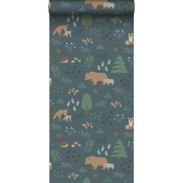 ESTAhome behang bos met bosdieren vergrijsd blauw, groen en beige