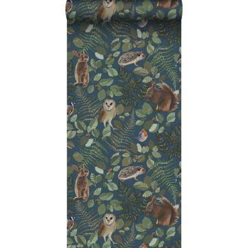 ESTAhome behang bosdieren donkerblauw, groen en bruin