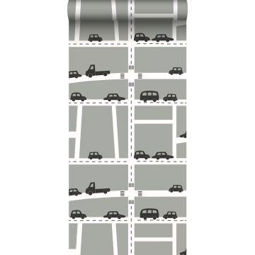 ESTAhome behang auto's grijs, zwart en wit
