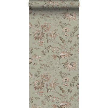ESTAhome behang vintage bloemen vergrijsd mintgroen en zacht roze