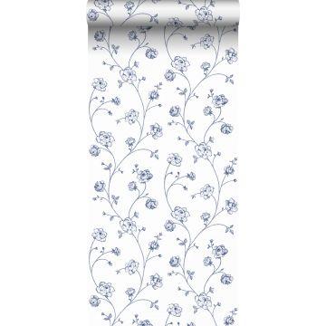 ESTAhome behang toile de jouy rozen wit en blauw