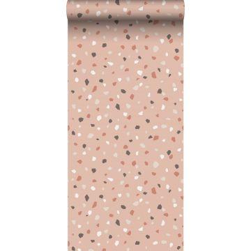 ESTAhome behang terrazzo zacht roze, wit en grijs