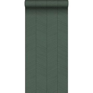 ESTAhome behang visgraat-motief groen en zwart