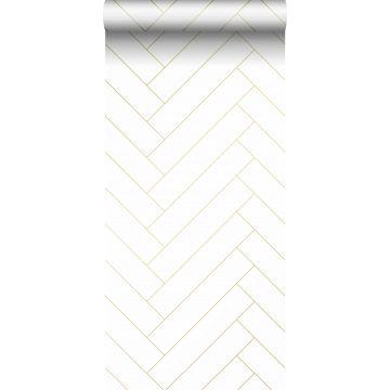 ESTAhome behang visgraat-motief wit en goud